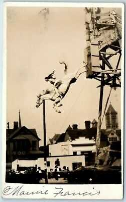 "Vintage RPPC Photo Postcard Girl on DIVING HORSE ""Marie Francis"" 1908 Omaha NE"