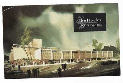 Vintage California Chrome Postcard Bullock's Department Store Westwood Angeles