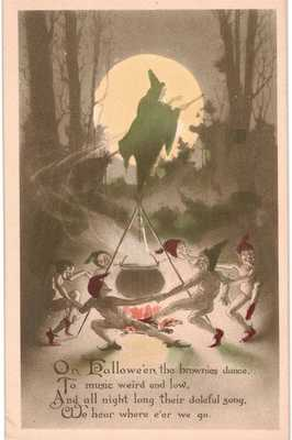 Halloween Brownies Dance Green Colored Witch Goblins Gibson Sepia Unused 1910