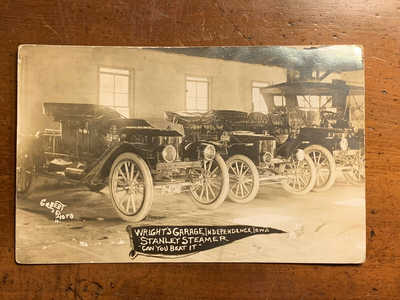 Iowa, IA, Independence, Wright's Garage Stanley Steamer, Old Cars, RPPC, PM 1912