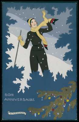sg Meschini art deco pochoir Ski Winter sports Lady original old 1910s postcard