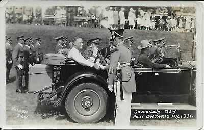 FDR Governor's Day, Fort Ontario NY Real Photo RPPC vintage postcard unused 1931