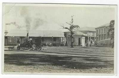 Philippines 1912 photographic card Cebu fire Dept with steam engine used