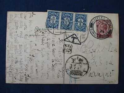 1924 Singapore Raffles Hotel Postcard Used to China Postage Due