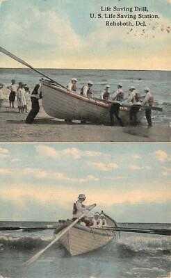 LIFE SAVING DRILL REHOBOTH BEACH DELAWARE POSTCARD (c. 1912)