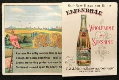 "ADVERTISING POSTCARD ELFENBRAU BEER ""WHOLESOME AS SUNSHINE"" LA CROSSE, WI"
