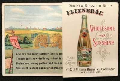 """ADVERTISING POSTCARD ELFENBRAU BEER """"WHOLESOME AS SUNSHINE"""" LA CROSSE, WI"""
