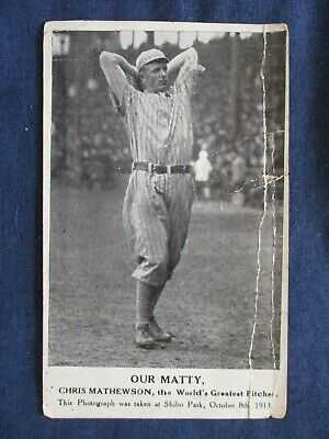 1913 Baseball Pitcher Chris Mathewson Shibo Park Pastime Novelty Postcard As-Is