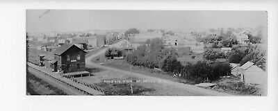1910 Postcard RPPC Birdseye View & RR DEPOT HAZEL, SOUTH DAKOTA Double Size