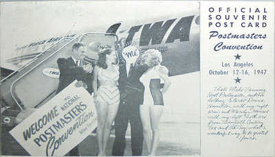 -Very Rare- 1947 -Marilyn Monroe- Vintage TWA Airlines/Postmaster Convention PC