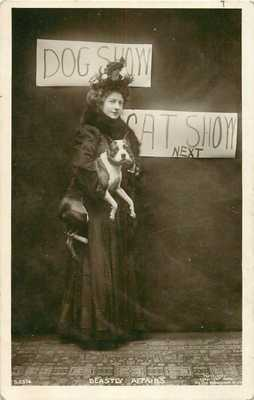 c1910 Lady & Her Boston Terrier Pit Bull Dog Rotograph Real Photo Postcard/RPPC