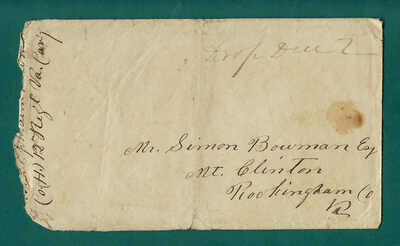 Mt Clinton VA, Confederate Drop Due 2 cover from Ephraim Bowmam Virginia Cavalry