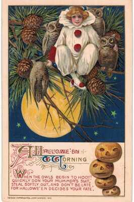 Halloween Morning Winsch Schmucker Witch Pierrot Owls Frog 1910 UNUSED