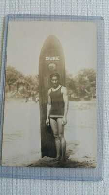 DUKE KAHANAMOKU Olympic Gold Medalist HAWAII Photo Postcard rppc AZO SURFER