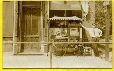 RPPC 1910 Rare Occupational Popcorn Wagon Vendor