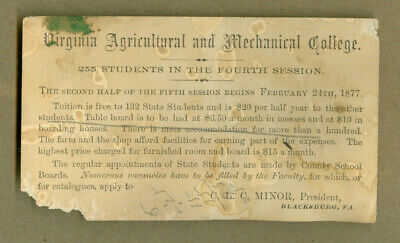 VINTAGE POSTCARD VIRGINIA AGRICULTURAL MECHANICAL COLLEGE 4TH SESSION 1877 TECH