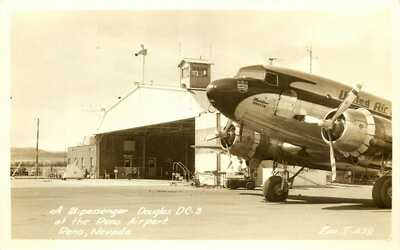 DOUGLAS C-3 AT AIRPORT, AVIATION, RENO, NEVADA, RPPC, VINTAGE POSTCARD