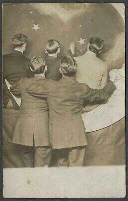 5 Young Men Looking at the Stars Paper Moon Electric Studio Dubuque RPPC 1910