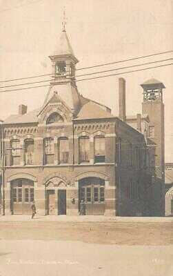 RPPC FIRE STATION MALDEN MASSACHUSETTS REAL PHOTO POSTCARD (c. 1920)
