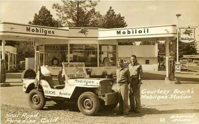 MOBILGAS STATION, PARADISE, CALIFORNIA, RPPC, VINTAGE POSTCARD
