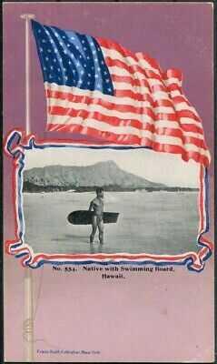 1900's Native w/ Swimming Board Waikiki Patriotic Franz Huld #554 TH Hawaii