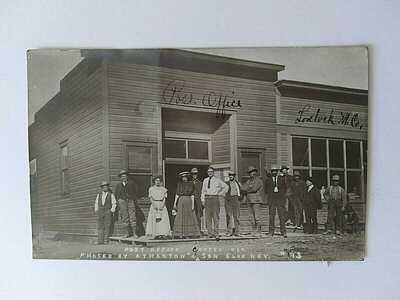 CHAFEY NV REAL PHOTO POSTCARD 1908 GHOST TOWN POST OFFICE LOVELOCK MERC. CO.