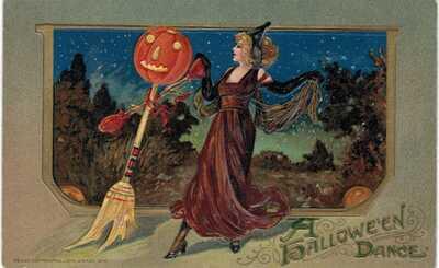 Winsch Halloween Dance Blonde Witch Dances JOL Broom UNUSED 1910