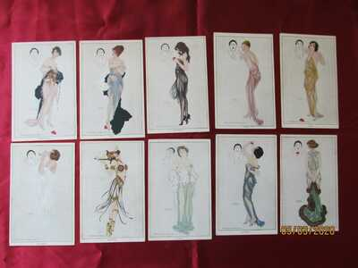 Vintage Collectible Postcards -- 10 Signed 1915 - 1917 Raphael Kirchner Pinups
