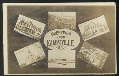 1912 RPPC, MULTI-VIEW, GREETINGS FROM KAMPSVILLE, IL. ON THE ILLINOIS RIVER