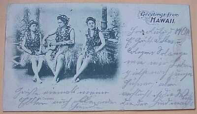 1899 Greetings from Hawaii Hula Girls Pioneer PMC Republic Stamps TH - Germany