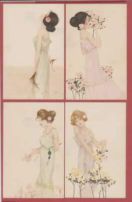 Old Postcard Set of 6 Pristine Raphael Kirchner Cards Girls Beauty Artist Signed