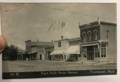 Fairmont, Nebraska-East Side of Main Street-GAR Hall c1908 RPPC Photo Postcard