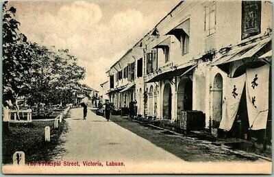 "Postally-Used LABUAN, Malaysia Postcard ""The Principal Street"" 1910 Cancel Stamp"