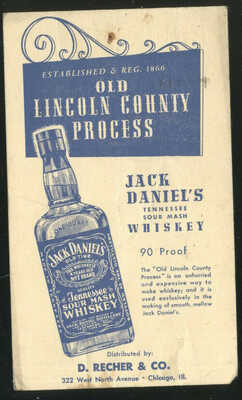 1952 PRINTED PC ADVERTIISNG JACK DANIELS WHISKEY, D RECHER & CO. CHICAGO, IL.