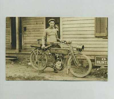 Early RPPC Man w/Antique Harley Davidson Motorcycle Real Photo Postcard yz4971