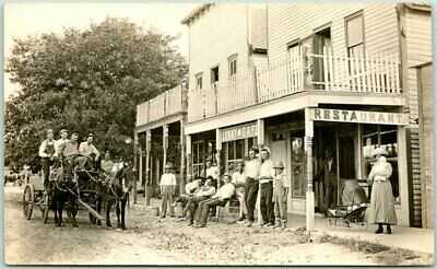 1910s Luray, Kansas RPPC Real Photo Postcard LURAY CAFÉ Restaurant Street View