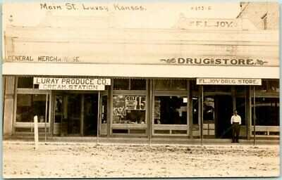 Luray, Kansas RPPC Real Photo Postcard LURAY PRODUCE CO Store / Street View 1915