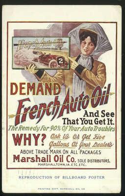 1911 FRENCH AUTO OIL ADVERTISING POST CARD, MARSHALL OIL CO. MARSHALLTOWN, IA.