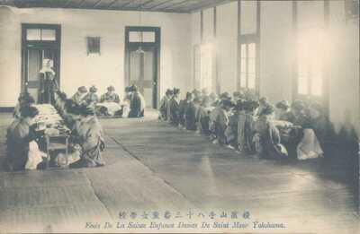 JAPAN Yokohama French Christian school dinner 1910s PC