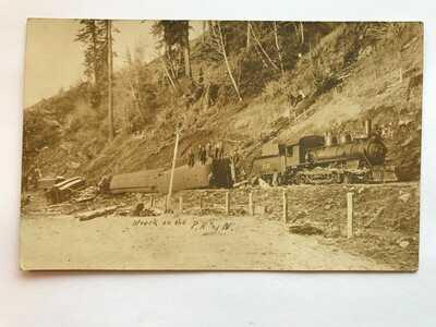 Real Photo Postcard Post Card Tillamook Oregon Train Wreck 1913