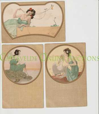 Old Postcard Serie of 6 Cards Raphael Kirchner Animals .