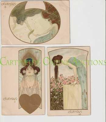 Old Postcard Serie of 6 Cards Raphael Kirchner Legends.