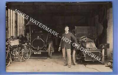 AMAZING RARE 1913 MOTOR BIKE CAR GARAGE PICKERING YORKSHIRE RP PHOTO POSTCARD