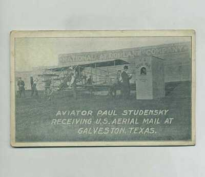 Rare Galveston TX Aviator Paul Studensky Postcard 1910 Aerial Mail Cancel yz6341