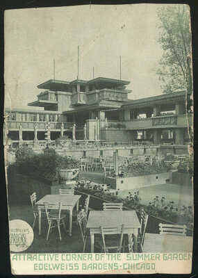1918 SEPIA PHOTO PC ADVERTISING EDELWEISS GARDENS, CHICAGO, IL.