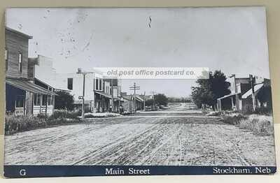 Stockham, Nebraska-Main Street Scene-Rare View c1910 RPPC Real Photo Postcard