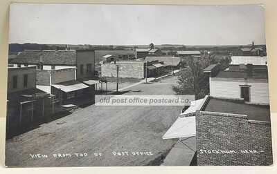 Stockham, Nebraska-Looking North 1909 Downtown RPPC Real Photo Postcard