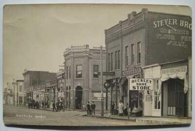 Buckley WA Street Old 1910s RPPC Postcard Signs: Shoe Store; Grocery; Stever Bro