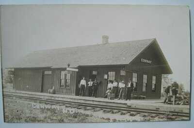 Conway ND Railroad Depot Old 1904-19 RPPC Postcard; near Fordville, Minto View 2