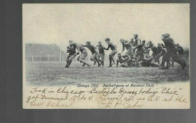 OLD POSTCARD bw FOOTBALL GAME MARSHALL FIELD CHICAGO IL 1907 Carlisle Game